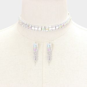 Glass and Crystal AB Choker Necklace